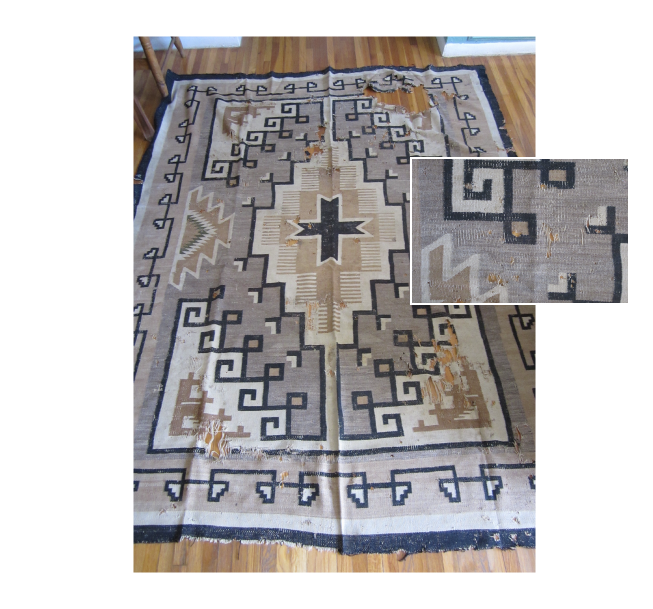 Navajo Rug Restoration and Repair by Penelope Starr - Customer rug beyond repair